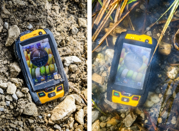 smartphone ATEX iSAFE tra l'acqua e i sassi